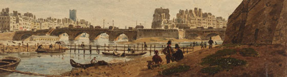 Paris: Point Neuf and Pont des Arts 1824 by Frederick Nash 1782-1856